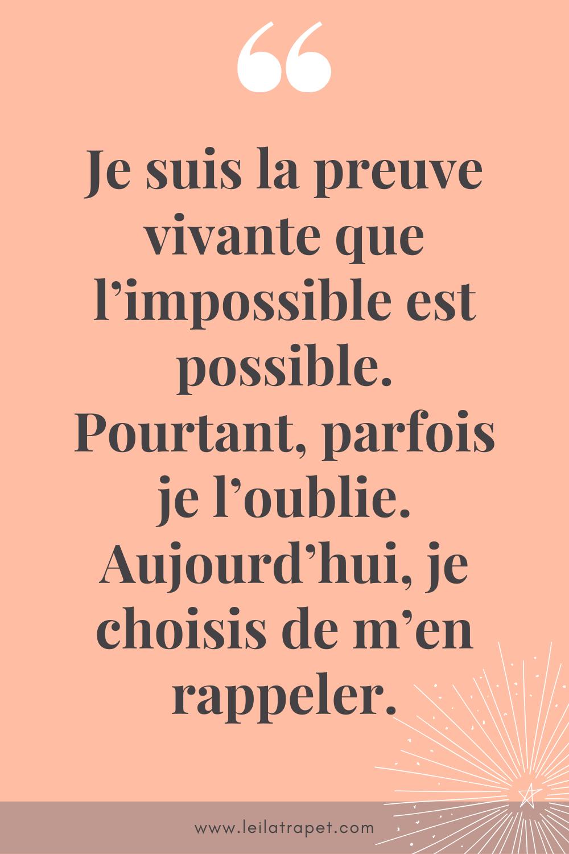 l'impossible est possible - développement personnel