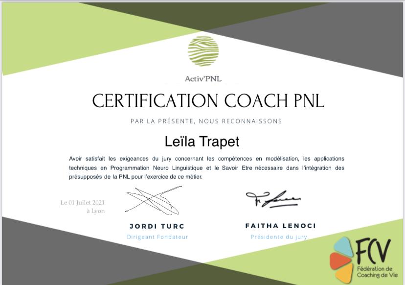 Certification coach activ'pnl Leïla TRAPET